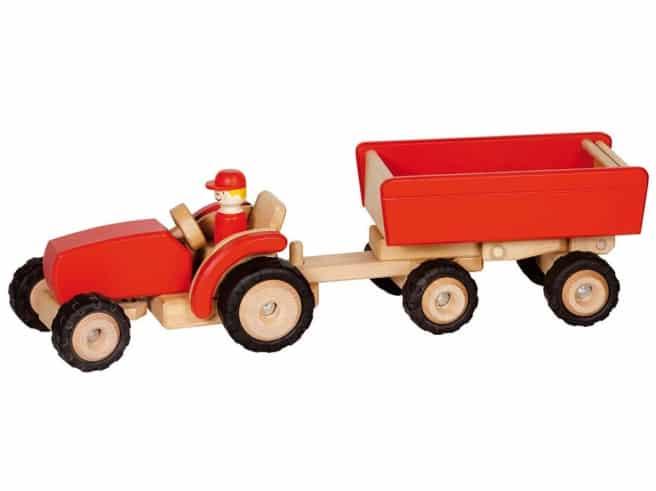Traktor mit Hänger rot