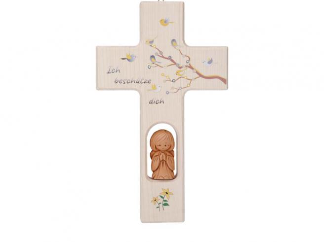 Kreuz mit Tonengel und Kristallen